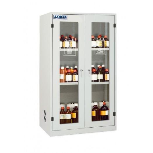 Armoire de stockage produits chimiques et corrosifs 2 portes vitrées