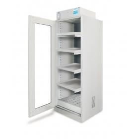 Armoire avec hotte ventillée à filtration moléculaire 1 porte vitrée