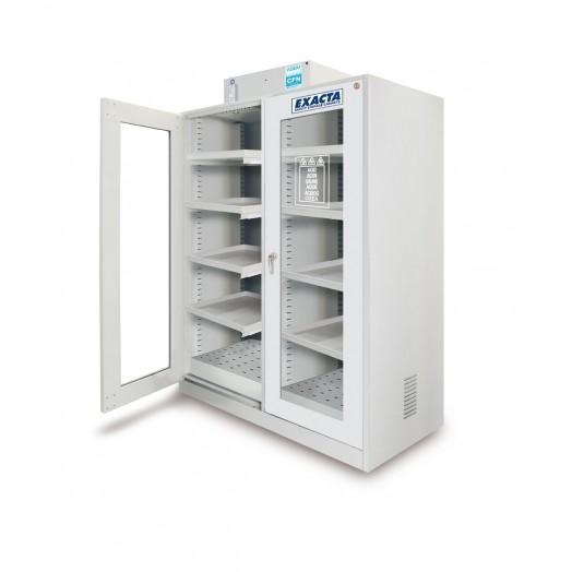 Armoire avec hotte ventillée à filtration moléculaire 2 portes vitrées