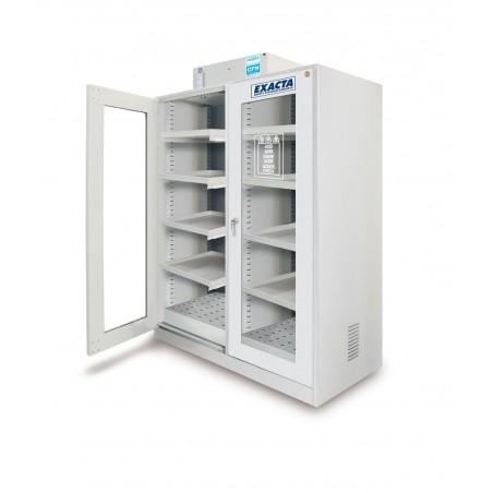 Armoire avec hotte ventilée à filtration moléculaire 2 portes vitrées