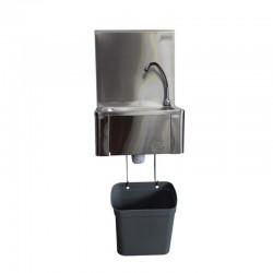 Support inox et poubelle pour lave mains