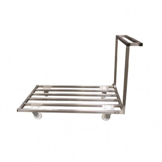 Chariot inox AISI 304 plateforme barreaudée