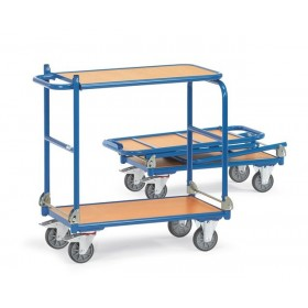 Chariot FETRA pliable à 2 plateaux bois