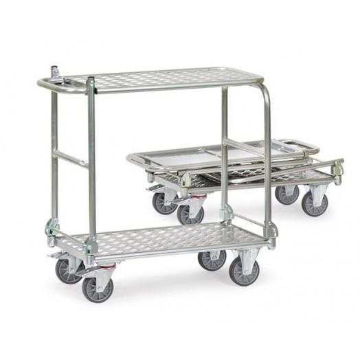 Chariot FETRA pliable en aluminium 2 plateaux