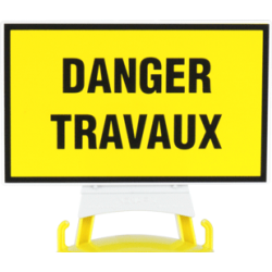 Panneau Danger travaux + support pour balise modulable