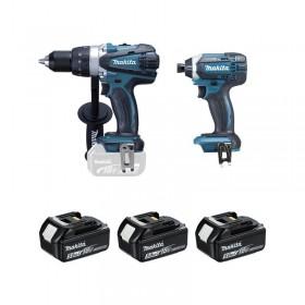 Ensemble 2 machines coffret MAKITA Perceuse Visseuse DDF458  + Visseuse à chocs DTD152 + 3 batteries et chargeur