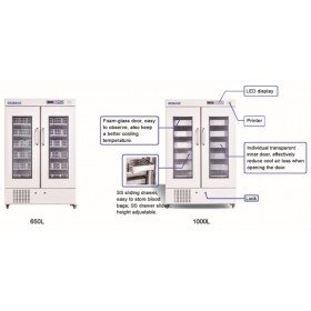 Réfrigérateur double porte pour banque de sang Biobase
