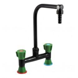 Mélangeur deux robinets sur table à bec orientable - Sanifirst