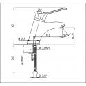 Mitigeur monotrou Ht sous bec 84.5mm