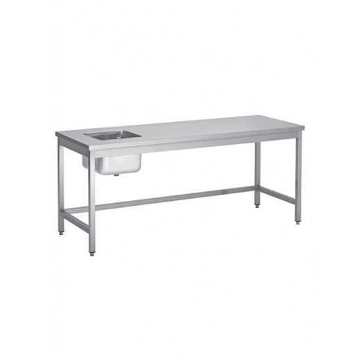 Table en inox AISI 304 avec évier inox encastré