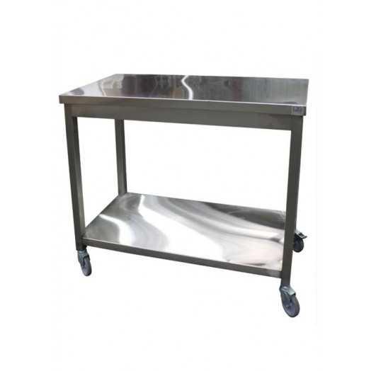 Table inox à roulettes pour laboratoire et cuisine